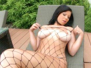 Oiled big natural tits