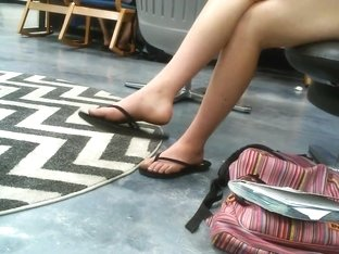 Candid Feet & Legs Teen at Library No Face