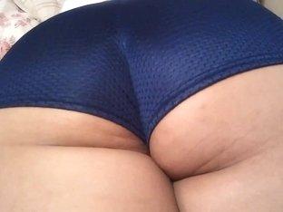 Mom Latina in Blue Sexy Shorts