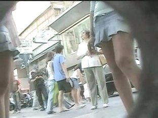 Humpable teen legged women being filmed by voyeurs on the street
