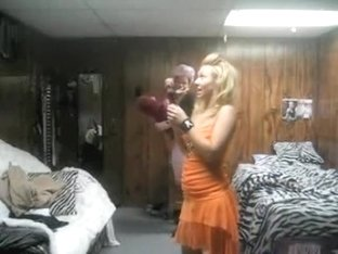 Blonde laughs so hard she pees her panties