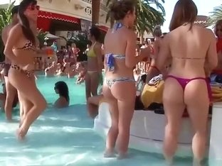 Delicious honeys have some fun at the pool in their bikinis