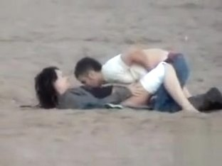 German couple makes love on the deserted beach