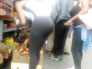 Smokin' black cutie with a big butt wears really tight sweatpants