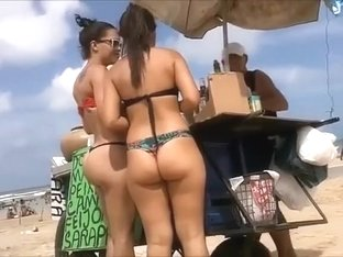 Brazilian big butts at the beach are amazing