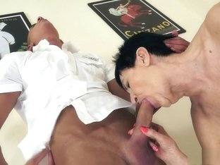 Shy granny with big tits becomes wild at the hands of a young stallion