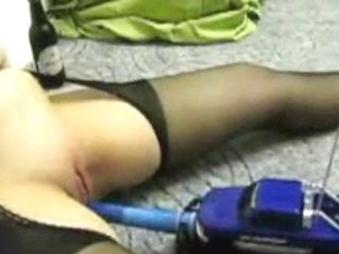 Plump woman attached a dildo to a remote controlled car