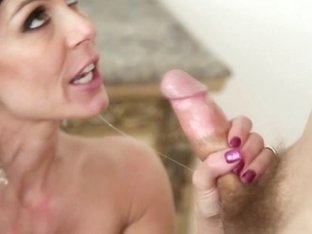 Brunette with big tits does blowjob to a very hot man