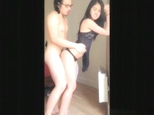 Cute asian girl makes a sextape with her nerdy bf