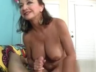 POV tugging granny with big massive fake tits