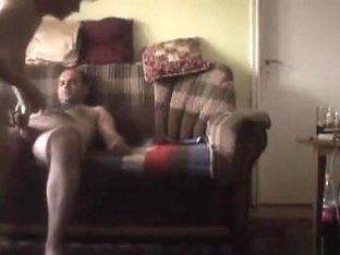 Granny has a threesome with 2 guys in the living room