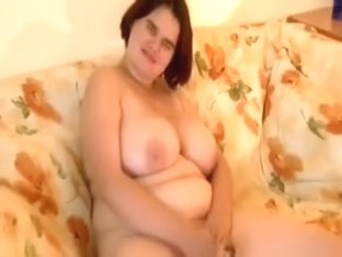 Chubby hotty shows her brassiere buddies and masturbates on bed
