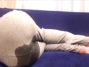 Tape bound girl ends up wetting her in sweatpants