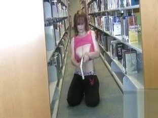 Tattooed girlfriend with big jugs flashing in the city library
