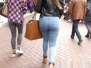 Busty chcik in tight jeans pants
