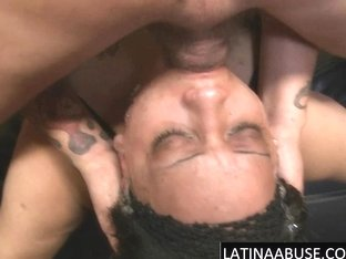 Latina slut Nena Rimjobs & gets a sloppy throat fuck