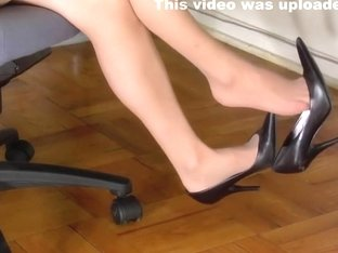 Shoeplay and Dangling in Nylons under the desk in my office