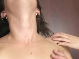 Gorgeous brunette babe takes a load of cum on her face