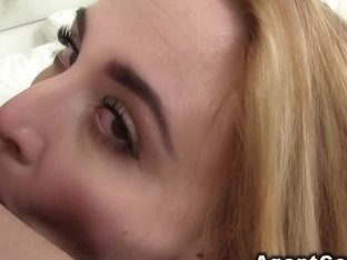 Natural blonde deep throats in casting pov