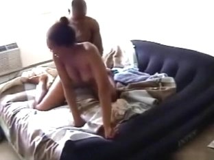 Big boobed ebony girl has 69, masturbation, missionary and cowgirl sex on the bed with her bf.