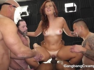 Married Girl-next-door 1st gangbang with hot tan lines