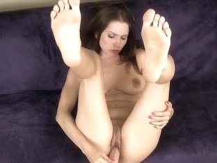 My gf playing with a rubber dick
