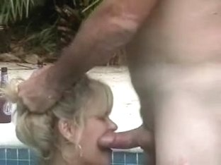Older wife sucks neighbors schlong in the pool