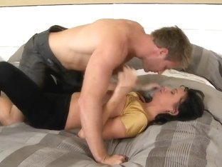 Pretty sexy shaped guy Jordan Ash hotly kissed and fondled with his brunette girlfriend Melisa Men.