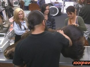 Lesbian couple fucking with pervert pawn man at the pawnshop