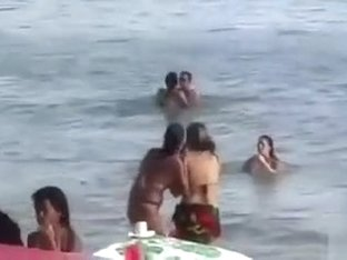 Horny French couple has sex in the water