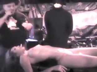 Lucky guys lick lemon slices off of her tight naked body