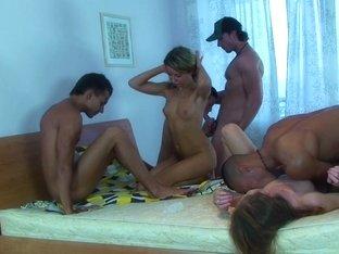 Betsy & Kiki & Sweety & Tess in lustful nude students having hardcore group sex
