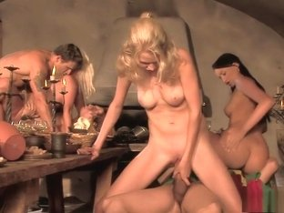 Claudia Adams gets a mouthful of cock in a blazing sexy orgy
