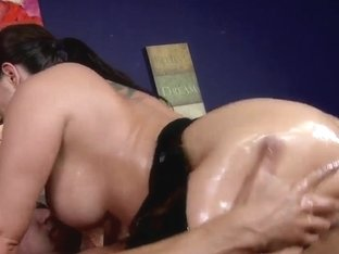 Big assed and big titted brunette porn star with oiled body Kelly Divine fucked anally by Marco Ba.