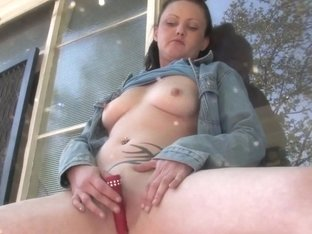 Girls Out West - Amateur pussy toyed outside the house