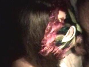 Naugty masked tattoo tit