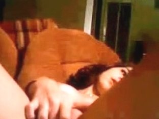 Brunette teen takes off her panties
