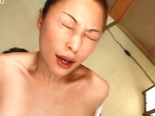 Horny Asian milf gets fucked from behind and ends up swallowing cum