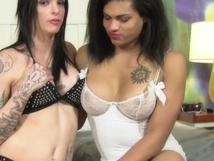 Tattooed transgirl doggystyled by ebony tgirl