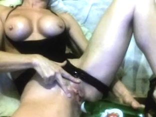 Hawt older fucking her a-hole and vagina with a toy