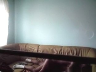 Russian girl has missionary and cowgirl sex on the sofa