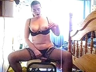Overweight Dilettante Woman Rides Her Recent Plastic Sex Toy At Home