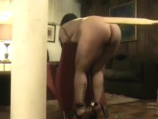 Bulky wife is slutty about getting spanked with a cricket bat