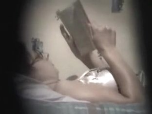Bookworm girl caught rubbing her pussy