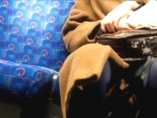 Long brown coat, Blue Tights
