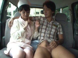 Fabulous Japanese girl Rei Mizuna in Incredible car, nurse JAV scene