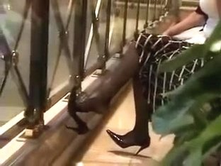 Candid Stunning Dangling Feet in Black Nylons