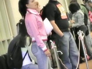 Girls in sexy jeans trousers caught in mall voyeur video