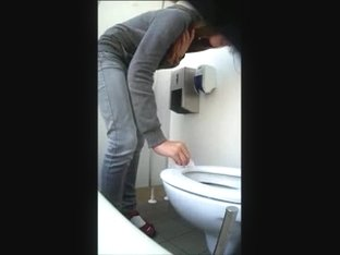 Cute Girl Exposes Nice Ass and Sits Down on the Toilet