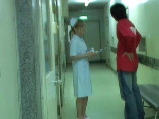Sharked girl in nurse uniform fell on the floor